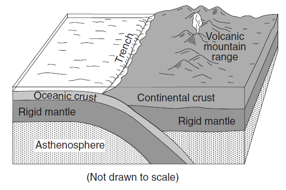 19 Which tectonic plate boundary is best represented by this diagram?