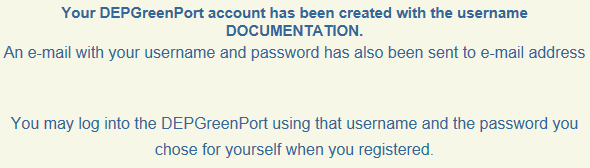 21. The following message will be displayed to indicate that the account creation was successful and an email sent confirming the account information.