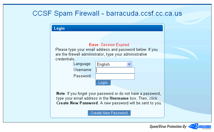 *If you received this error message, you must create a new password Sample of login page of Barracuda.