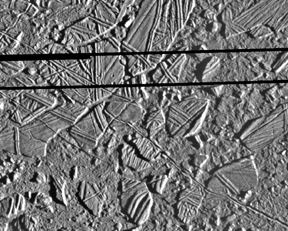 1. Global View As this global view shows, much of Europa's surface is covered by a series of dark bands.