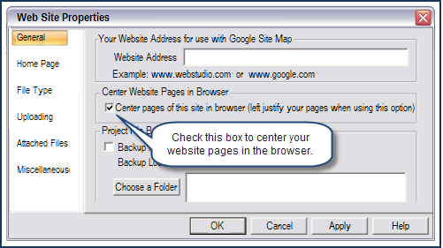 Centering Your Website in the Browser When you create your site in Web Studio, it is aligned to the left of the page. When it is on the internet, Web Studio centers it in the browser.