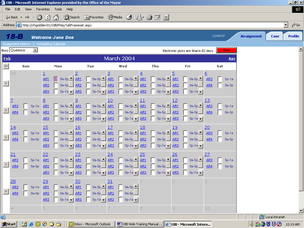 4. Familiarize yourself with the scheduling calendar screen - there is a lot of functionality available on this screen.