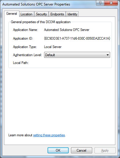 3. Click the Properties icon on the toolbar or right-mouse click on Automated Solutions OPC Server and