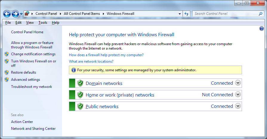 Windows Firewall Configuration When setting DCOM configuration and testing OPC Server for remote connectivity, it is recommended that Windows Firewall be temporarily set to 'Off'.