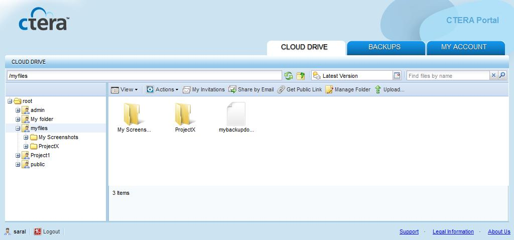 To browse a cloud drive folder online 1 Using a Web browser, log in to your CTERA Portal