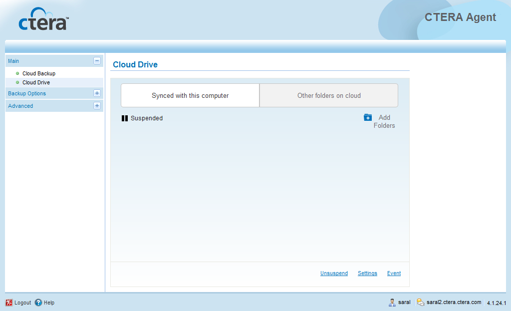 Using the CTERA Agent in Cloud Mode 4 To unsuspend cloud drive synchronization 1 In the navigation pane, click Main > Cloud Drive. The Cloud Drive page appears. 2 Click Unsuspend.