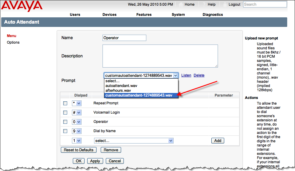 4. The Auto Attendant settings will be displayed. Click the drop down list to select the recorded greeting. 5.