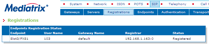 5. In the SIP -> Registrations section, configure the User Name, Friendly Name and Gateway for the FXS port used by the fax and click the Submit & Refresh Registration button.
