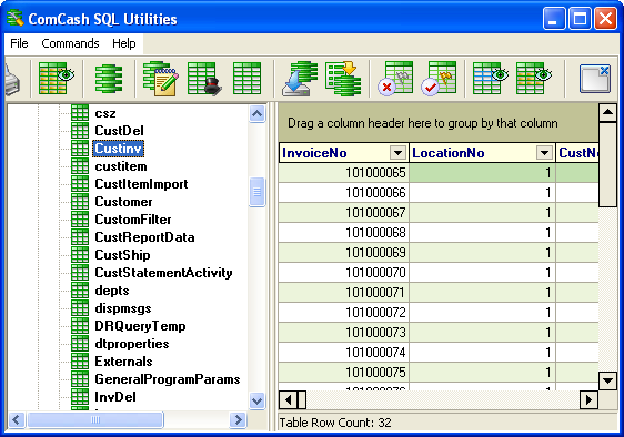 Working with Utilities 37 The contents of the selected table are displayed in the details pane. 3.18 Viewing the table structure A table must be selected in the navigation pane to use this feature.