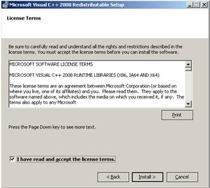 Click OK to proceed with installing the C++ runtime libraries Click the checkbox to accept the