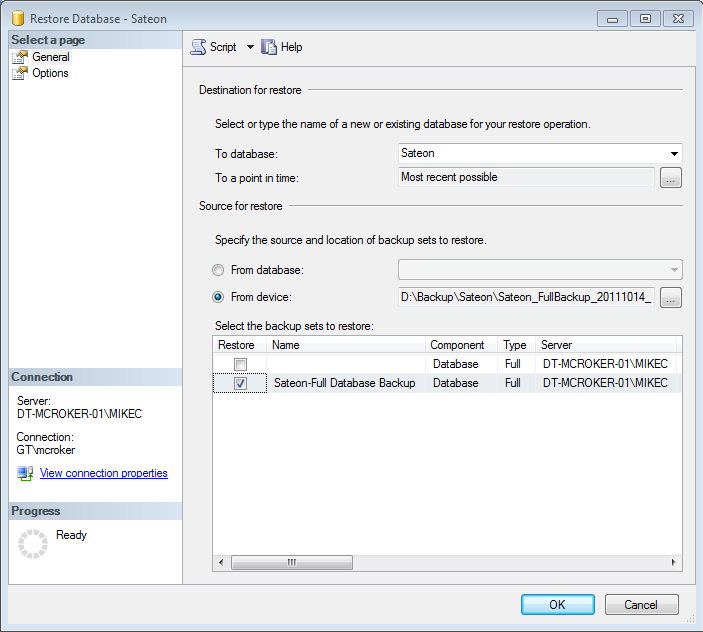 4. The Restore Database dialog appears; enter details as follows: Under Destination for restore, choose the name of the database to be restored from the To database drop-down (e.g. Sateon, SateonESS) Under Source for restore, choose From device.