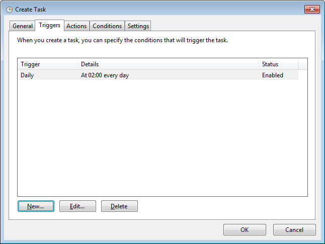 5. Select the Triggers tab to define when the task is to be triggered. 6. Click the New.