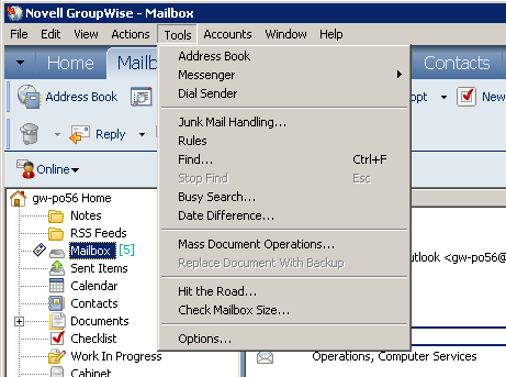 Common GroupWise TOOLS Menu options Note: Outlook 2010 has consolidated TOOLS options under the File Tab, Options. There are many User Preference settings which include Mail, Calendar, Contacts, etc.