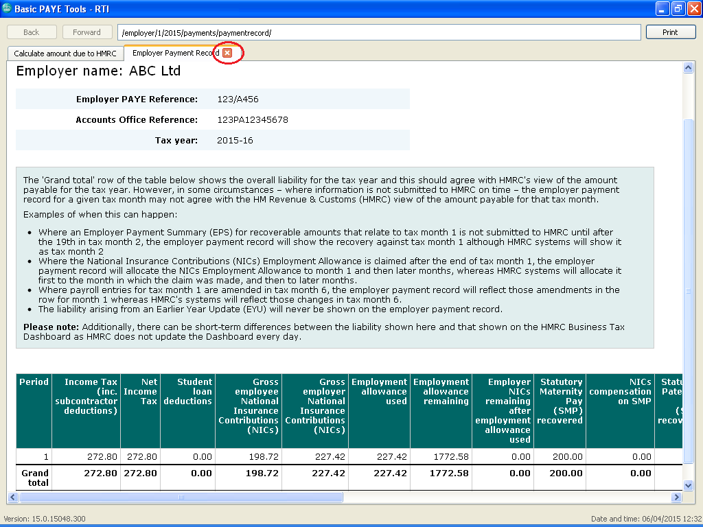 5. View Employer Payment Record Select the 'View Employer Payment Record' link from the menu.