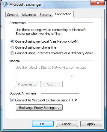 In the More Settings dialog box: Click the Security tab: tick the Encrypt data between Microsoft Outlook and Microsoft Exchange checkbox Click the Connection tab: at the bottom, under Outlook