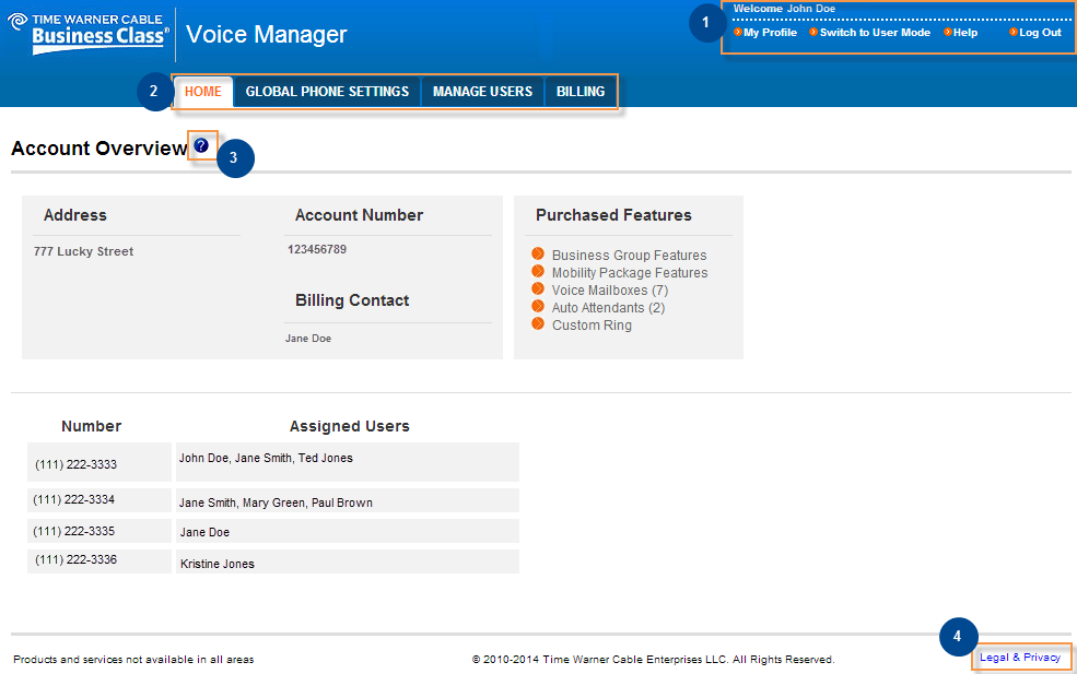 Get to Know Voice Manager Home Page Overview When you log in to Voice Manager, you will see the Administrator s Home page, which is shown below.