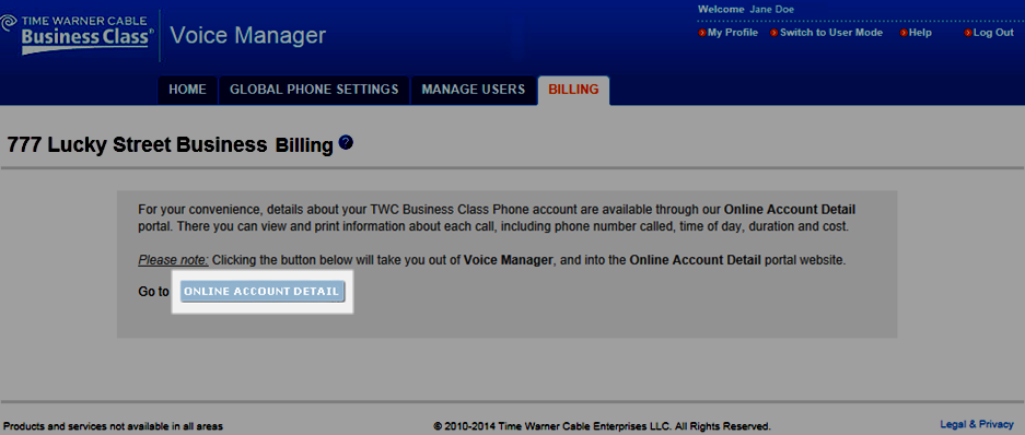 Billing The Billing tab will connect you with your Online Account Detail to view current and past call charges.