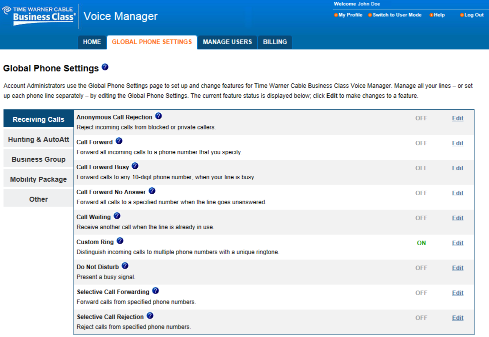 Configure Voice Manager On the Global Phone Settings tab, an Administrator can configure many Voice features, some of which are probably already familiar to you, such as Call Waiting, Call
