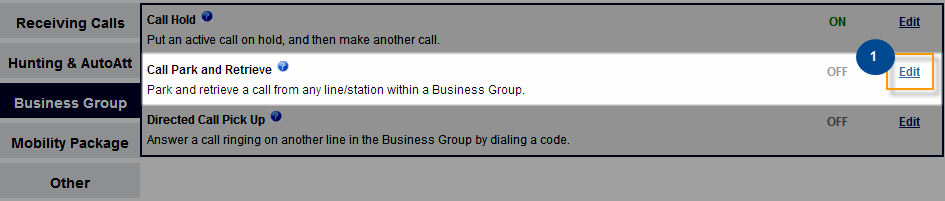 Business Group Features under the Business Group section allow you to configure settings that allow sharing of incoming calls among a group of Business Class Phone lines as well as provides 4-digit