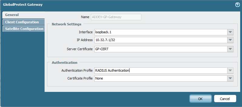 Click OK Configure GlobalProtect Gateway Navigate to Network GlobalProtect Gateways and click Add On the GlobalProtect Gateway General page, type a name for your Gateway, specify the Interface and IP