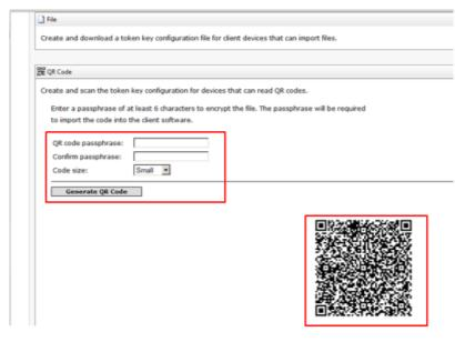 Choose Import from QR Code. Scan the QR Code. Enter the passphrase. Click on Import (IPhone) or OK with Android).