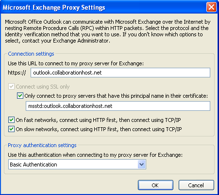 Exchange 2010 Outlook Profile Setup Page 6 of 9 email.hostaccount.com msstd:email.hostaccount.com 13) Enter all of the following settings: Use this URL proxy server for Exchange: email.hostaccount.com Only connect certificate: msstd:email.