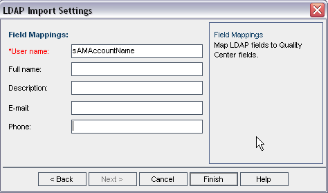 9. Delete all field mapping values except the User name. 10. Select Finish.