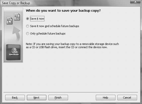 Software Installation and Creating a New Company 23 4 Complete Backup Options Save to your USB drive, other external media, or the computer desktop Modify Online and local backup options to Remind me