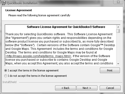 4 Chapter 1 Step 7: The License Agreement window appears After reading the terms of the Software License Agreement, print it for your files and select I