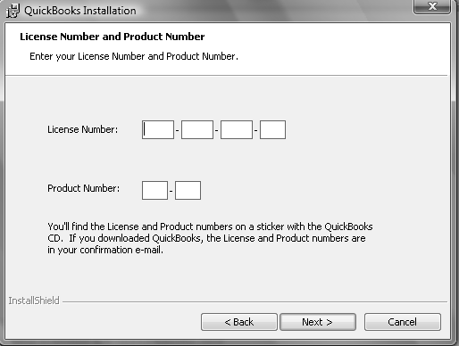 Software Installation and Creating a New Company 5 Step 9: When the License Number and Product Number window appears, enter your license number and product number These can be found on the Intuit