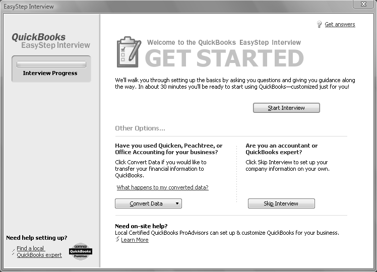 Software Installation and Creating a New Company 9 Step 4: Click on Create a new company file When Easy Step Interview window appears, click Step 5: Complete the required fields using your following