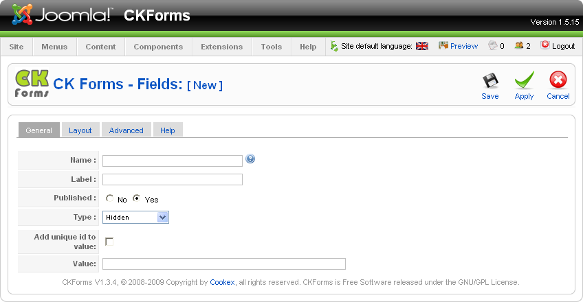 "A.2 - Adding a field Hidden The ""Hidden"" is not visible in the form. It allows to provide information about the form or a field."