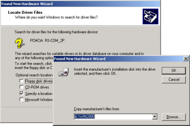 SOFTWARE INSTALLATION FOR WINDOWS 2000 1. Insert the Serial PC Card into the PCMCIA socket, the Found New Hardware Wizard dialog box appears. Click Next. 2. Check the Search for a suitable driver for my device, and click Next.