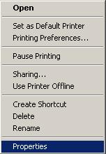 2) Start > Control panel > Printers and Faxes 3) Select the printer icon