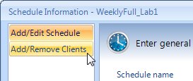 Configuring STORServer VMB c. In the list of clients that have already been added to the schedule (at the bottom), select the client whose TSM server you want to change. d.