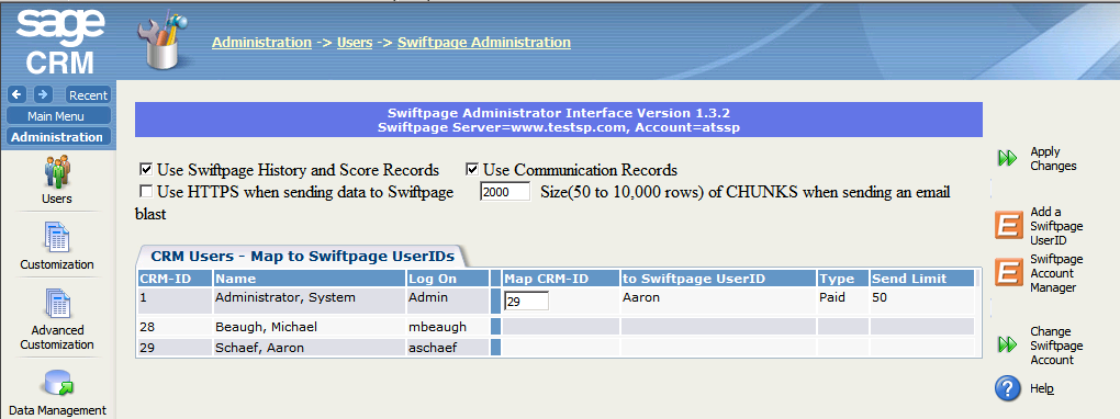 Changing Administrative Settings in Swiftpage for Sage CRM To adjust administrative settings in Swiftpage for Sage CRM: 1.