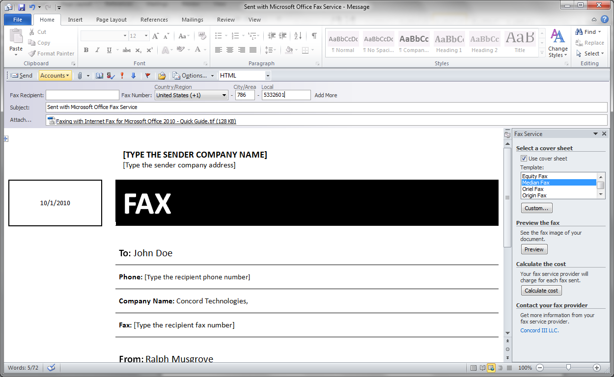 MS Office 2007 MS Office 2010 Concord Fax