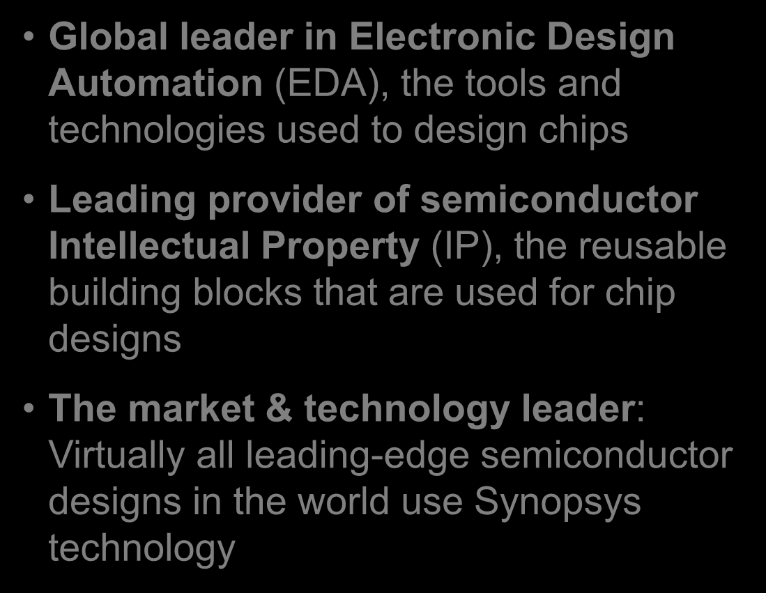 Corporate Overview For Investors Pdf Eda Electronic Design Automation Group Synopsys Introduction Global Leader In The Tools And Technologies