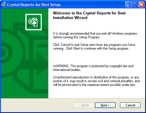 ...... Chapter 6 Installing Crystal Reports Installing Crystal Reports to the Workstation To install Crystal Reports to the workstation 1 Place the Crystal Reports for Best CD-ROM in the CD-ROM drive.