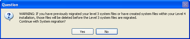 ... MIGRATING LEVEL 3.X DATA Migrating Data... NOTE Migrating system files, does not migrate system menu security.