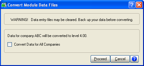 ... CONVERTING DATA FILES TO THE CURRENT LEVEL Convert Data Files.