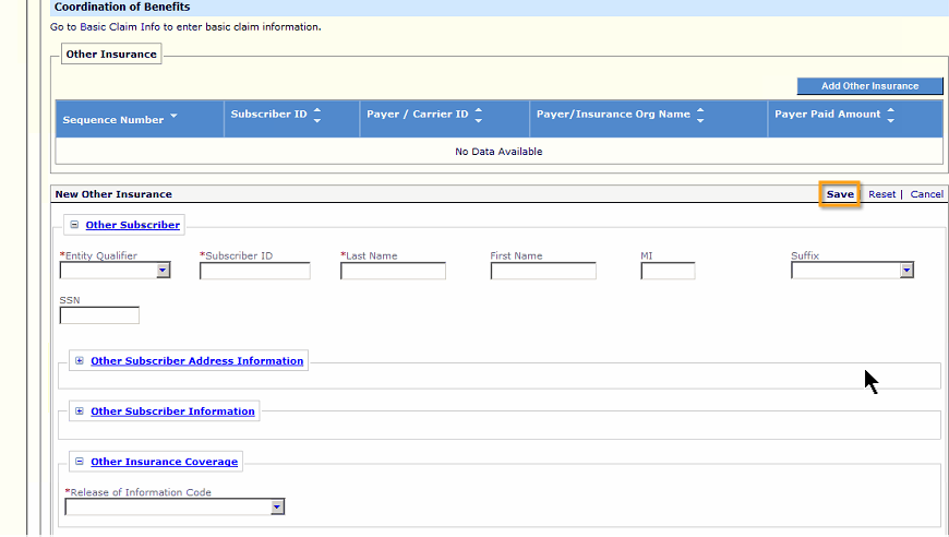 The New Other Insurance section opens. When completing the entry of other insurance, click Save.