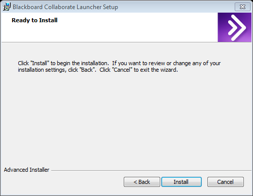 9. The Blackboard Collaborate Launcher Setup Wizard should run. Select Next and then choose Install. 10. Be patient while the Blackboard Collaborate Launcher installs.