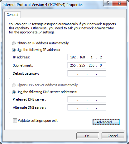 5) Set the IP settings as shown below, and then click