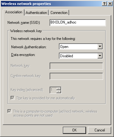 7) Click the [Add] button. 8) Enter BIXOLON_adhoc as the Network name(ssid).