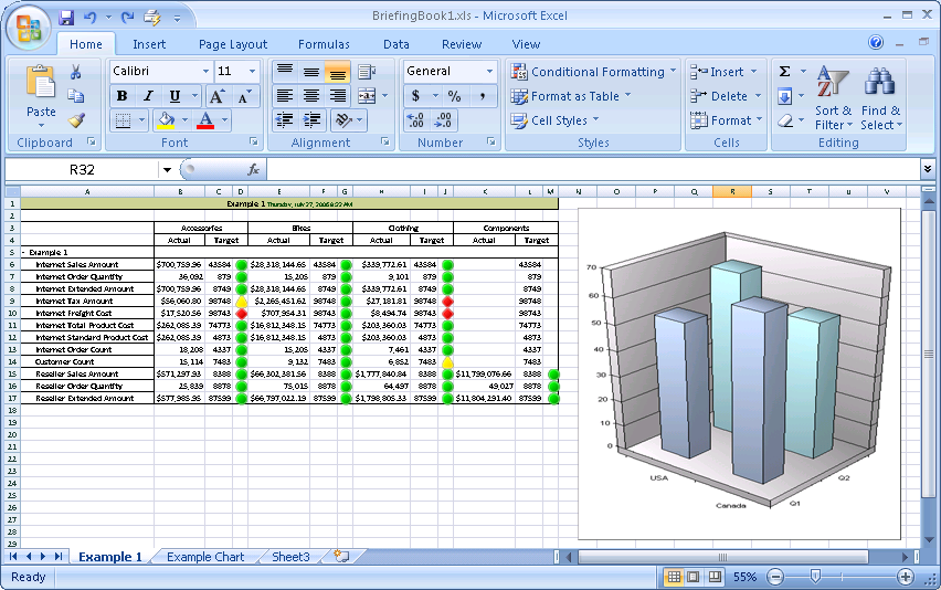 Export scorecards and report views to Excel.