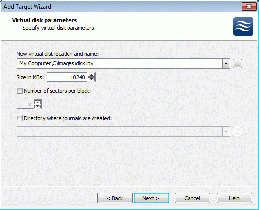If you have decided to create a new virtual disk, specify the location and the name of the virtual disk you wish to be created. Also you have to provide the virtual disk size in megabytes.