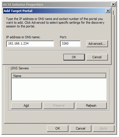 In the Add Target Portal dialog, type the IP address of the computer with StarWind installed and the port number