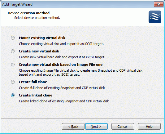 If Create linked clone option is selected, a snapshot can be used to create a new Snapshot and CDP virtual disk.