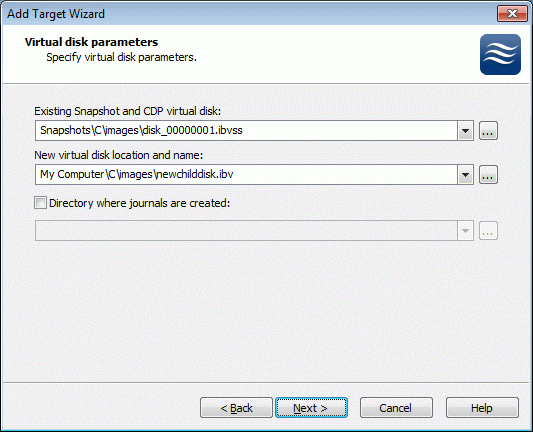 Specify all of the necessary parameters: existing snapshot name, new virtual disk name and directory